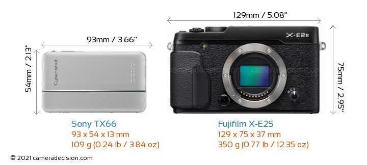 Sony TX66 vs Fujifilm X-E2S Camera Size Comparison - Front View