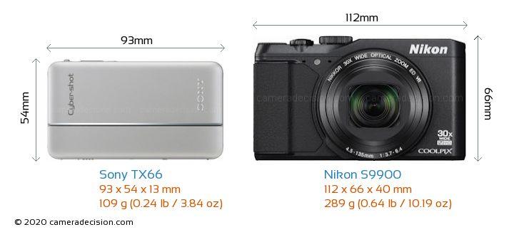 Sony TX66 vs Nikon S9900 Camera Size Comparison - Front View