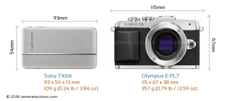 Sony TX66 vs Olympus E-PL7 Camera Size Comparison - Front View