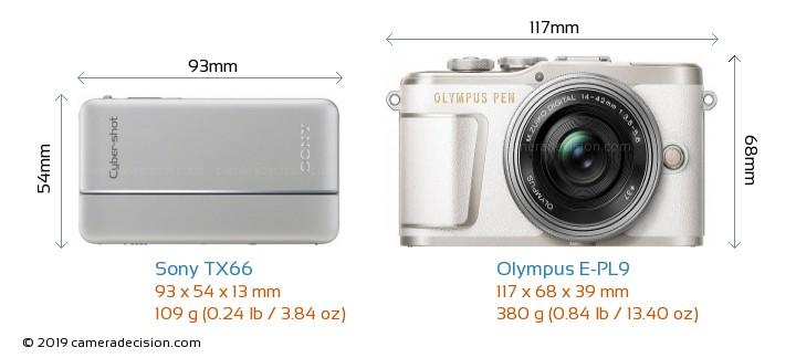 Sony TX66 vs Olympus E-PL9 Camera Size Comparison - Front View