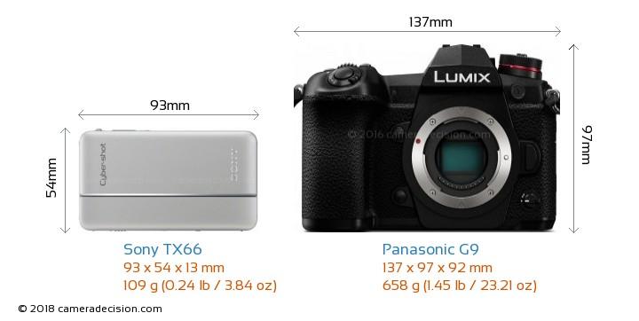 Sony TX66 vs Panasonic G9 Camera Size Comparison - Front View