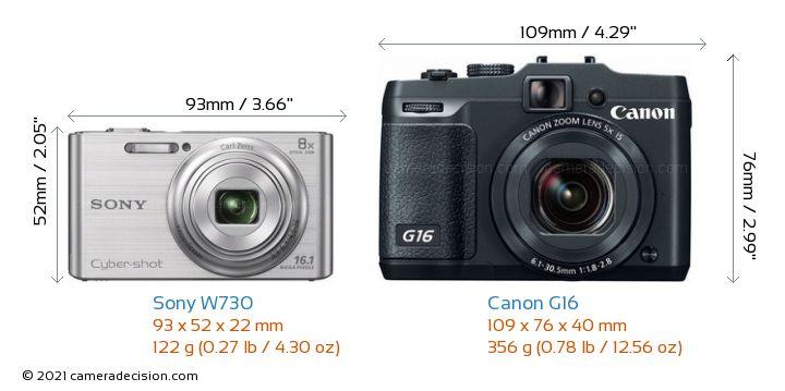 Sony W730 vs Canon G16 Camera Size Comparison - Front View