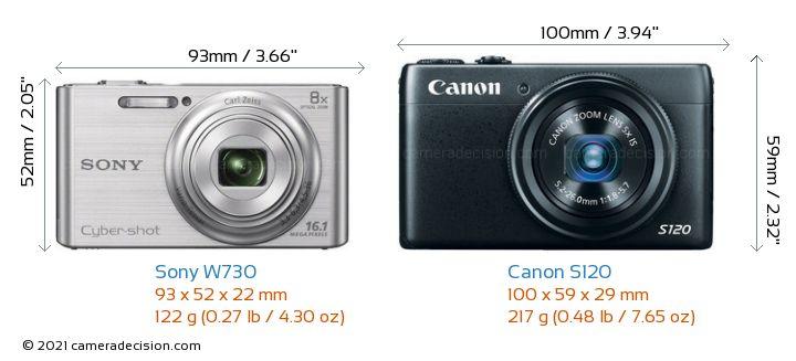 Sony W730 vs Canon S120 Camera Size Comparison - Front View