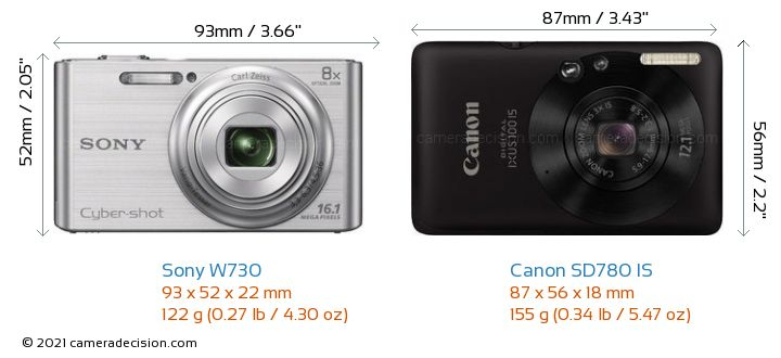 Sony W730 vs Canon SD780 IS Camera Size Comparison - Front View