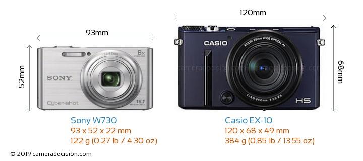 Sony W730 vs Casio EX-10 Camera Size Comparison - Front View