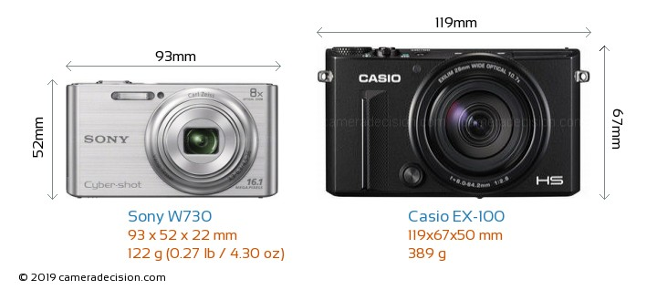 Sony W730 vs Casio EX-100 Camera Size Comparison - Front View