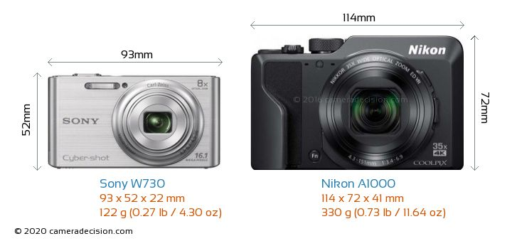 Sony W730 vs Nikon A1000 Camera Size Comparison - Front View