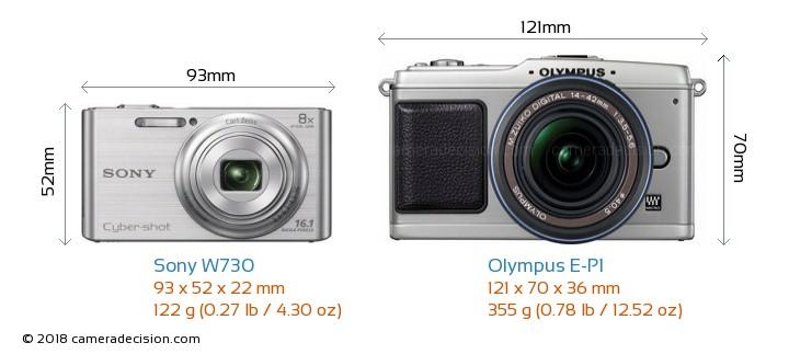Sony W730 vs Olympus E-P1 Camera Size Comparison - Front View