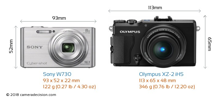 Sony W730 vs Olympus XZ-2 iHS Camera Size Comparison - Front View