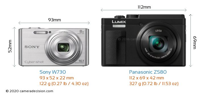 Sony W730 vs Panasonic ZS80 Camera Size Comparison - Front View