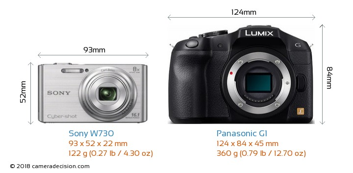 Sony W730 vs Panasonic G1 Camera Size Comparison - Front View