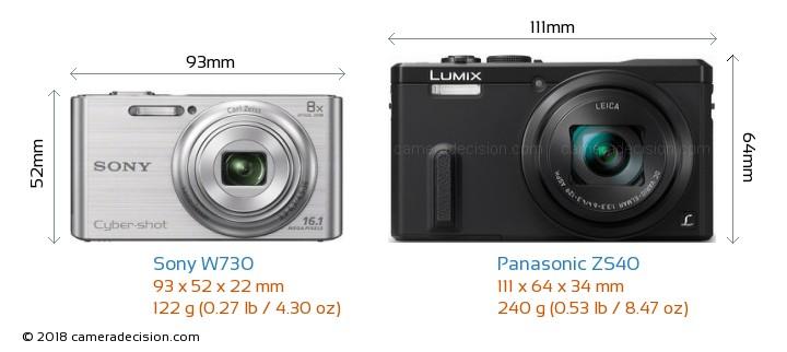 Sony W730 vs Panasonic ZS40 Camera Size Comparison - Front View