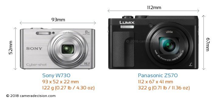 Sony W730 vs Panasonic ZS70 Camera Size Comparison - Front View