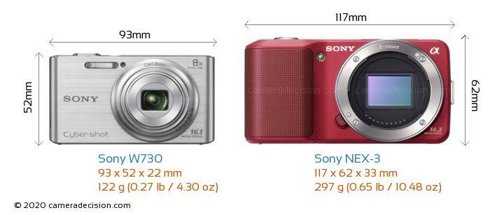 Sony W730 vs Sony NEX-3 Camera Size Comparison - Front View
