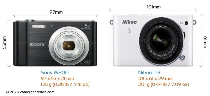 Sony W800 vs Nikon 1 J3 Camera Size Comparison - Front View