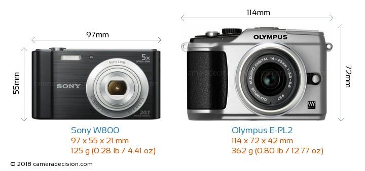 Sony W800 vs Olympus E-PL2 Camera Size Comparison - Front View