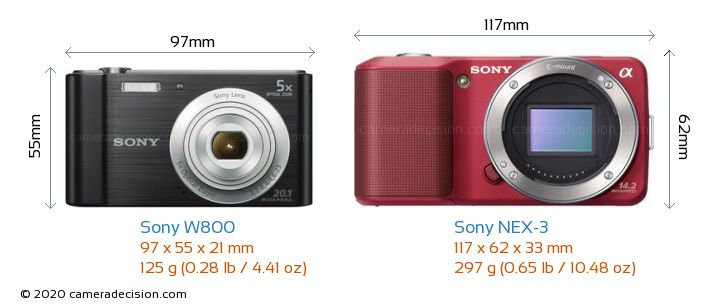 Sony W800 vs Sony NEX-3 Camera Size Comparison - Front View