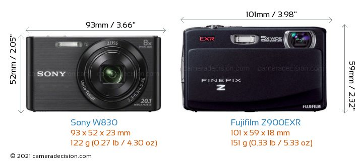 Sony W830 vs Fujifilm Z900EXR Camera Size Comparison - Front View