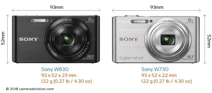 Sony W830 vs Sony W730 Camera Size Comparison - Front View