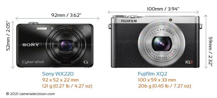 Sony WX220 vs Fujifilm XQ2 Camera Size Comparison - Front View