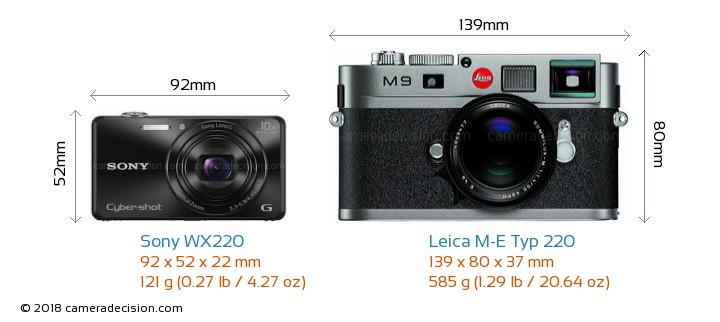 Sony WX220 vs Leica M-E Typ 220 Camera Size Comparison - Front View