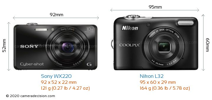 Sony WX220 vs Nikon L32 Camera Size Comparison - Front View