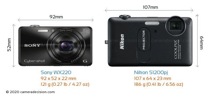 Sony WX220 vs Nikon S1200pj Camera Size Comparison - Front View
