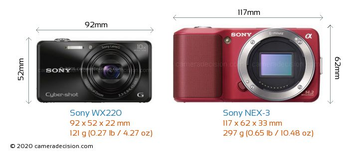 Sony WX220 vs Sony NEX-3 Camera Size Comparison - Front View