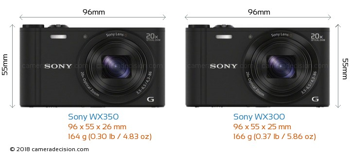 Sony WX350 vs Sony WX300 Camera Size Comparison - Front View