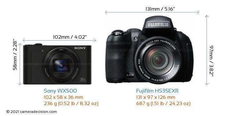 Sony WX500 vs Fujifilm HS35EXR Camera Size Comparison - Front View
