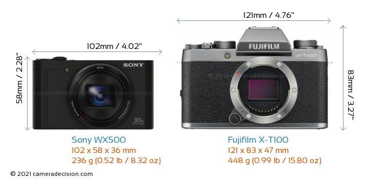 Sony WX500 vs Fujifilm X-T100 Camera Size Comparison - Front View