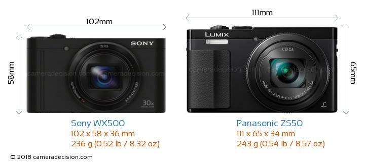 Sony WX500 vs Panasonic ZS50 Camera Size Comparison - Front View