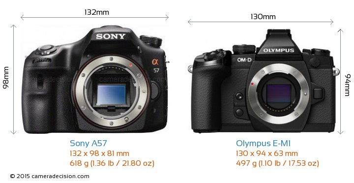 Sony A57 vs Olympus E-M1 Camera Size Comparison - Front View