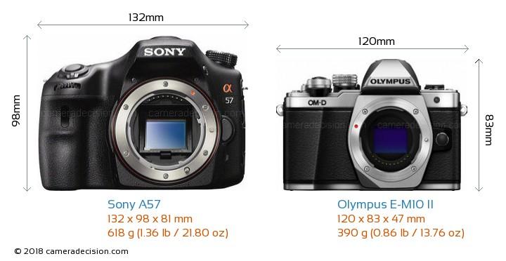 Sony A57 vs Olympus E-M10 II Camera Size Comparison - Front View