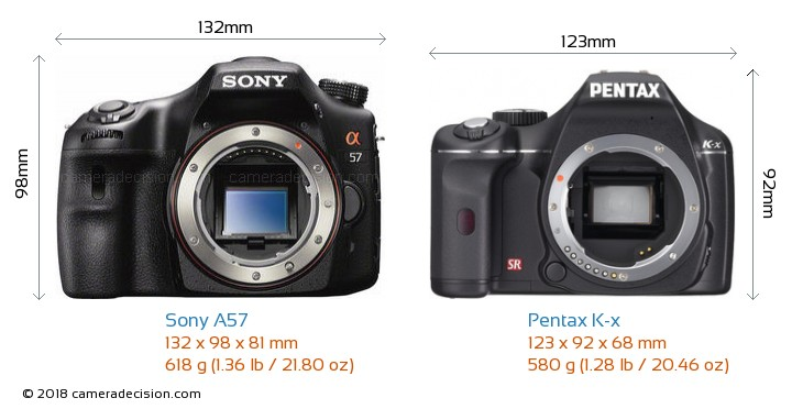 Sony A57 vs Pentax K-x Camera Size Comparison - Front View