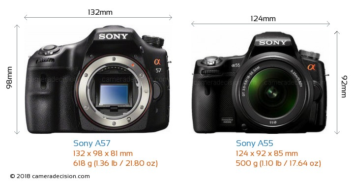 Sony A57 vs Sony A55 Camera Size Comparison - Front View