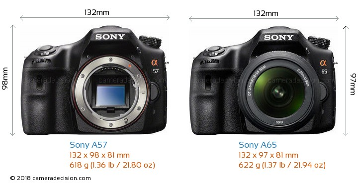 Sony A57 vs Sony A65 Camera Size Comparison - Front View