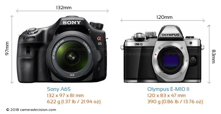 Sony A65 vs Olympus E-M10 II Camera Size Comparison - Front View