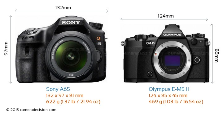 Sony A65 vs Olympus E-M5 II Camera Size Comparison - Front View