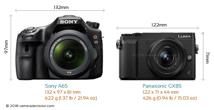 Sony A65 vs Panasonic GX85 Camera Size Comparison - Front View