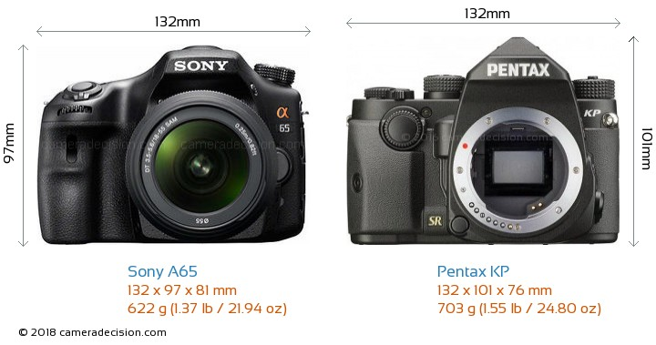 Sony A65 vs Pentax KP Camera Size Comparison - Front View