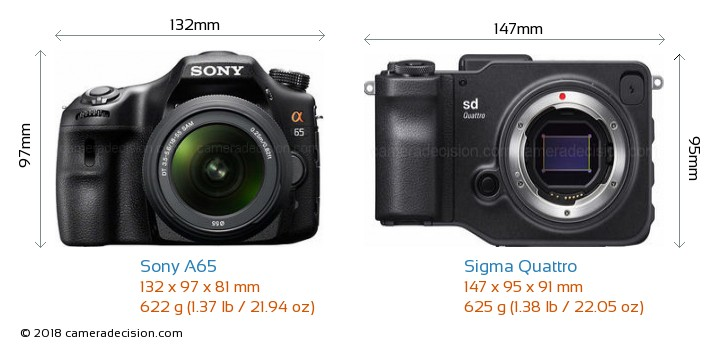 Sony A65 vs Sigma Quattro Camera Size Comparison - Front View