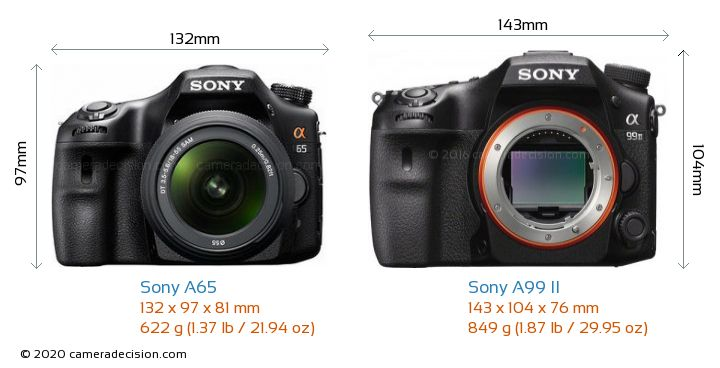 Sony A65 vs Sony A99 II Camera Size Comparison - Front View