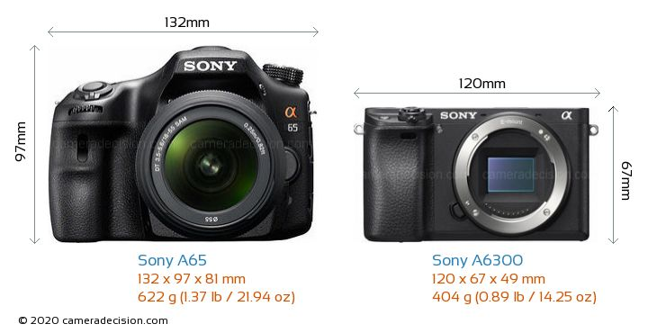 Sony A65 vs Sony A6300 Camera Size Comparison - Front View