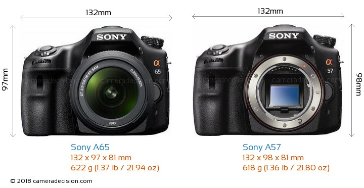 Sony A65 vs Sony A57 Camera Size Comparison - Front View