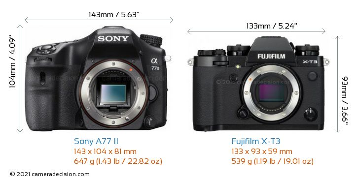 Sony A77 II vs Fujifilm X-T3 Camera Size Comparison - Front View