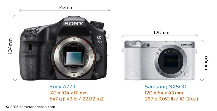 Sony A77 II vs Samsung NX500 Camera Size Comparison - Front View