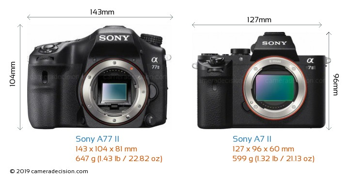 Sony A77 II vs Sony A7 II Camera Size Comparison - Front View