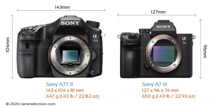 Sony A77 II vs Sony A7 III Camera Size Comparison - Front View