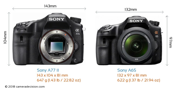 Sony A77 II vs Sony A65 Camera Size Comparison - Front View